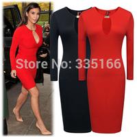 Fashion celebrity dresses Black/Red XS--XXL Plus Size, Sexy Slim kim kardashian formal dress For party/red carpet  #JM06856