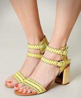 New 2014 Brief Elegant Brown Yellow Vintage Belt Cutout Block Heel Women High Heels Sandals Women Pumps Shoes