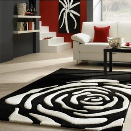 Black White Rose Carpet 140x200cm Modern Rug For Living Room Bedroom Acrylic