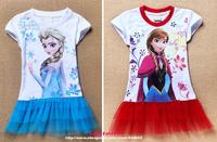Baby Girls Kids Child Frozen Princess Elsa Anna's Dress Clothing Clothes Set Roupa Vestidos Meninas Tshirt Summer Movie Costume
