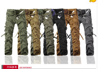 new  Casual multi-pocket overalls pants male olive outdoor multi pocket pants male loose long trousers military male trousers