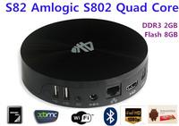 Newest Android TV Box S82 Amlogic S802 Quad Core 2GB/8GB Mal i450 GPU 4K HDMI Bluetooth WiFi Android 4.4 KitKat XBMC Mini PC