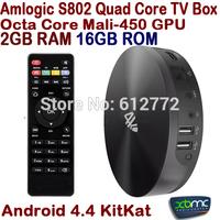 New S82 Quad Core Android TV Box Amlogic S802 2GB 16GB Mali450 GPU 4K HDMI Bluetooth4.0 XBMC Android 4.4 KitKat Mini PC