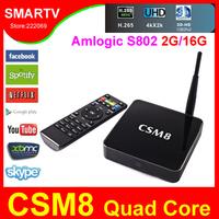 CSM8  Android TV Box Amlogic S802 Quad Core 2GHz Cortex A9 2GB RAM Dual WiFi Android 4.4 Kitkat XBMC 4K uHD Video Bluetooth