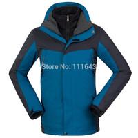 HOT sale Male Men's Outdoor jacket 2 in1 Waterproof Man Climbing Skiing Jackets Winter Coats Sportwear +Removable Fleece jacket