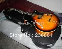Free shipping Wholesale Spring pull plate custom jazz Semi Hollow guitar custom L5 sunburst Electric Guitar with case