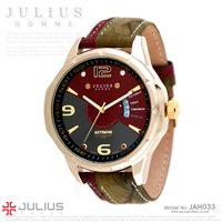 Julius Men's Brand Fashion Casual Analog Quartz Wristwatch Dress Calendar Date Mix Match Double Genuine Leather Strap Watch