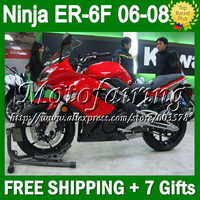 7gifts Red black For KAWASAKI ER-6F 2006 2007 2008 NINJA 650R  T582 Factory red blk ER650 650 ER 6F ER6F 06-08 06 07 08 Fairing