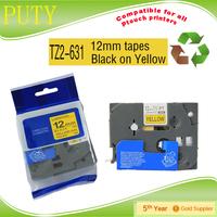 PUTY compatible 12mm black on white tz-631 tz  label tapes
