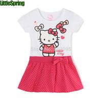 Retail hello kitty dress girls short sleeve dress summer models baby girl dresses children kid's polka dot dress LZ-Q0185