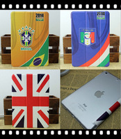 New 2014 World Cup Painted Design Flip Stand PU Skin Leather Cover Case For Apple Ipad Air 5 Mini 2 Free Shipping,Ultra-Thin