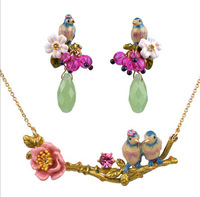 2014 New Fresh France Romantic Flower Delicate Enamel Glazing Jewelry Set Party Style Necklace and Earring Free Shipping