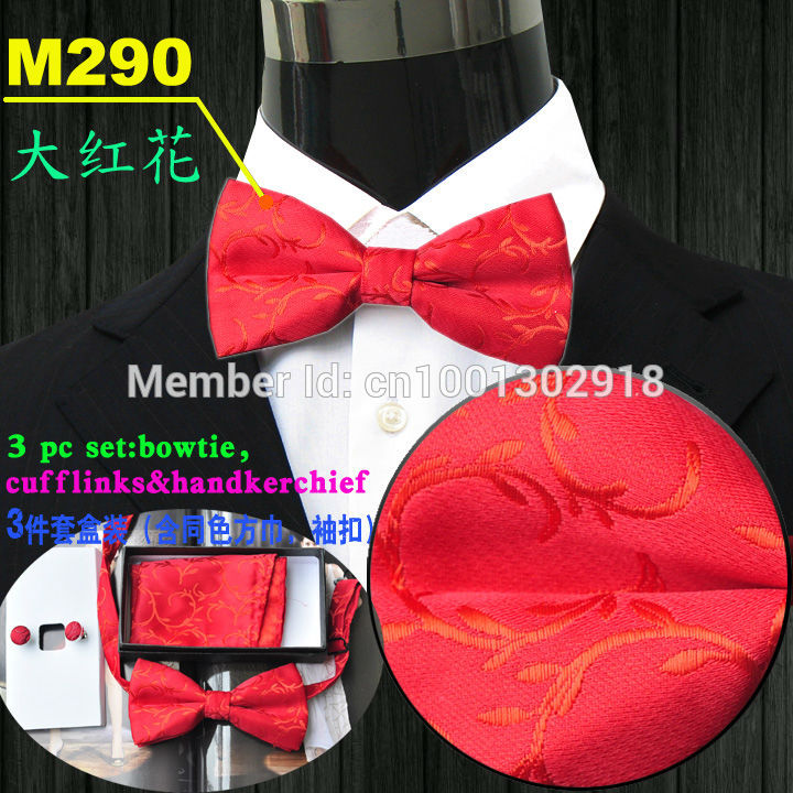butterflies casual butterfly bowknot bow tie knot bowtie men's necktie neck ties silk ascot cravat bright red floral #M290KU8(China (Mainland))