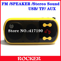 Free Shipping+Portable Digital LED Screen Stereo Sound FM Radio,Multifunction FM Radio (Yellow)