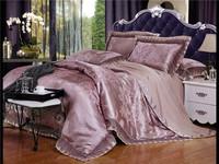 Tribute silk jacquard comforter bedding sets luxury bed cover blue color lace bedding set bed linen bed sheet