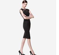 New 2014 Summer Dress Maxi Dresses Fashion Chiffon Patchwork One-piece Dress Black OL Sexy Lace Racer Back One-piece Dress A 56