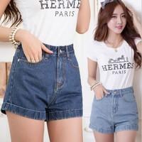 [Amy]  Free shipping  2014 high waist stretch denim shorts Slim Korean  new summer casual women jeans shorts hot pants plus