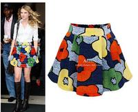 Free Shipping summer dress 2014 Women Pleated Floral s Elastic Waist women skirt Prints Chiffon Women Ladies Cute Mini Skirt