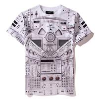 Cool 2014 spring new hiphop GVC mens Digital printing short sleeve t shirt cotton tee