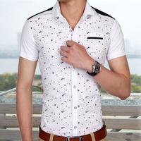 men's shirts social short sleeve made in cotton comforbalbe floral shirt  M L XL XXL XXXL free shipping 6888