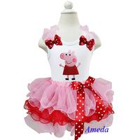 Girls Light Pink Red Petal Tutu with Peppa Pig White Tank Top 1-7Y
