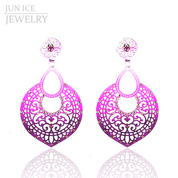 Fluorescent Gradient Color Pattern Alloy Hollow Carved Female Fashion Big Earrings