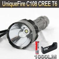 10SET/LOT UniqueFire C108 CREE T6 1000LM 5-Mode LED Flashlight Torch+ 3000mah 3.7V 18650 Battery+ Charger
