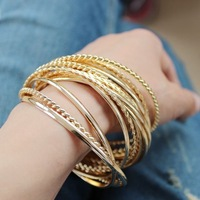 Gold bangle bracelet set women 2 colors and 2 sizes available free shipping