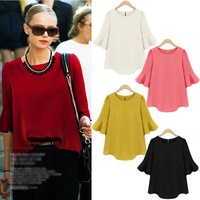 New Spring Summer 2014 Women Chiffon Blouses Half Sleeve Shirts O-Neck Tops For Women Clothing