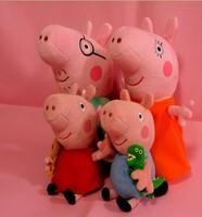 4pcs/lot Daddy Mummy Pig Peppa George Pig family Plush Toy Set Movie TV Peppa Pig hold Teddy Stuffed Animals Dolls Kids .50