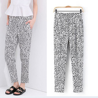 2014 Summer Hot Selling Womens Leopard Design Long Pants/Casual Cotton Pants For Women