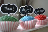 100 pcs 1 x chalkboard blackboard cake cupcake toppers food picks buffet labels wood