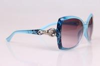 The new 2014 girl leopard head sunglasses UV400 blue film uv resistance women sunglasses wholesale