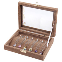 New 2014 Fashion 12 Hooks Brown Velvet necklaces & pendants Jewelry Showcase Display Case Storage Box Holder Free Shipping