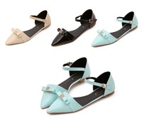 Free shipping 2014 new flat heel Summer women Sandal  Metal Lady casual fashion woman shoes Flip Flops brand