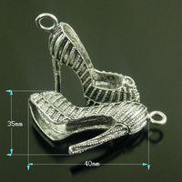 6PCS Vintage Silver Tone High Heel Shoes Pendant Charm 40x35mm  38625