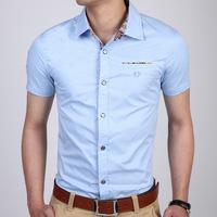 free shipping male shirt slim fit short sleeve cotton 2014 new arrive blue white grey color M L XL XXL XXXL 925