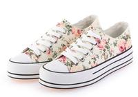 2014 summer shoes lace up floral print canvas breathable platform women sneakers