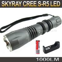 20SET/LOT SKY-RAY S-R5 T6 Flashlight,5 Mode 1000lm CREE XM-L T6 LED Flashlight+ 3000MAH 18650+ charger