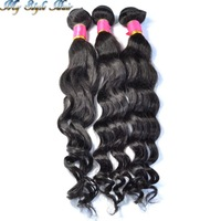4A Unprocessed Virgin Brazilian Loose Wave Human Hair Bundles Mixed Length 3pcs/lot,10 to 26 28 and 30 inches,Natural black,#1b