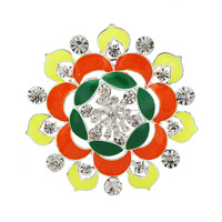 New Fashion women's crystal flower brooches colorful shiny  rhinestone big size brooch women