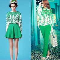 2014 summer women's long sleeve clothing set lace green leaves puff sleeve tops plus green trousers/skirts suits free shipping