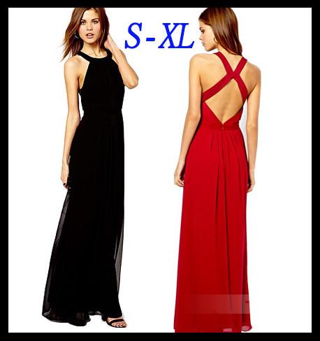New 2015 Fashion Black Red Sexy Backless Bandage Chiffon Muslin Maxi Dress Summer Casual Long Dresses Women Chiffon Long Dress(China (Mainland))