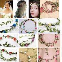 Boho Bridal Floral Colorful Flower Festival Wedding Garland Forehead Hair Head Band