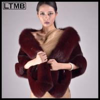 LTMB4640 Luxury women mink fur wrap  coat with wine  color fashion fox fur trim