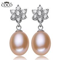 Luxury Natural Pearl Earrings Sterling Silver 925 Zircon Dangle Earring Genuine Pearls Drops Perfect Jewelry