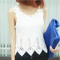 New 2014 Fashion Rivet Flower Cutout Wave Sweep Sleeveless Sexy Basic Tank Top Women Short Design Women Vest Mix Colors