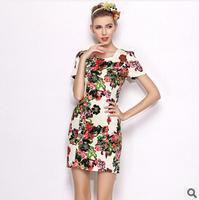 Freeshipping 2014 summer new fashion women's Flowers Slim Dress Square Neck Puff thin OL dress Casual dress Above Knee