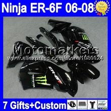 7 подарки + для KAWASAKI ниндзя-650r глянцевый черный 650 ER-6F 06 — 08 T55 ER650 ER6F эр 6F новый все черный 06 07 08 2006 2007 2008 зализа