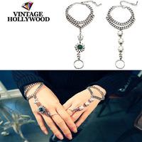 Free Shipping South Korean Vintage Hollywood Crystal Blue Ribbons Braided Pearl Bracelet Chain Fashion Bangles & Bracelets